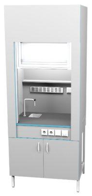 Шкаф вытяжной с сантехникой ШВ НВК 900 НЕРЖ+ (900x716x2200)